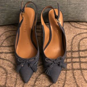 Talbots Pointy Leather Slingback Heel With Tassels